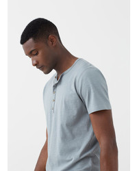 Mango Outlet Henley Cotton T Shirt