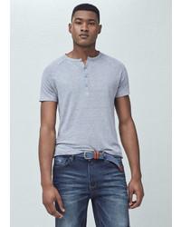 Mango Outlet Henley Linen Blend T Shirt
