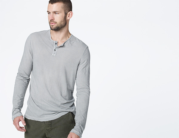 Grey henley shirt james perse spaced jersey henley for James perse henley shirt