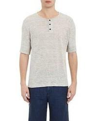 Vince Linen Jersey Short Sleeve Henley Grey