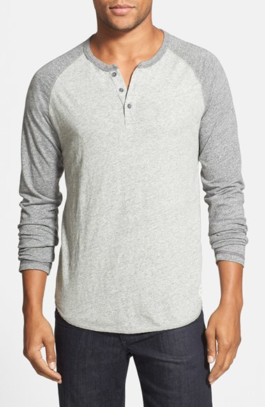 Lucky brand colorblock baseball henley where to buy for Kim kardashian henley shirt