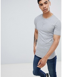 ASOS DESIGN Muscle Fit T Shirt With Grandad Neck In Grey Marl