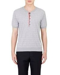 Thom Browne Rib Knit Henley Grey