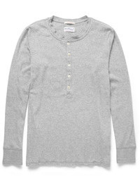 Gant Rugger Long Sleeved Cotton Blend Jersey Henley T Shirt