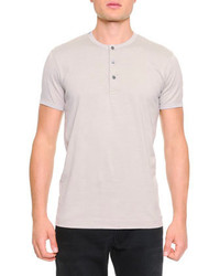 Dolce & Gabbana Short Sleeve Henley T Shirt Light Gray
