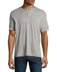 Ike Behar Short Sleeve Knit Henley Grey
