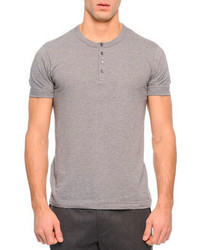 Dolce & Gabbana Short Sleeve Knit Henley T Shirt Gray