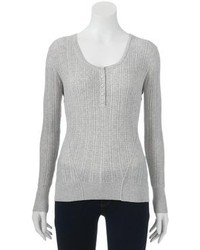 Sonoma Life Style Striped Henley Sweater Petite