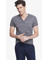 Express Space Dyed Y Neck Henley Tee