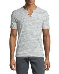 John Varvatos Star Usa Heathered Short Sleeve Henley T Shirt Gray
