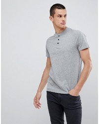 KIOMI T Shirt In Light Grey With Popper Detail