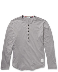Thom Browne Cotton Jersey Henley T Shirt