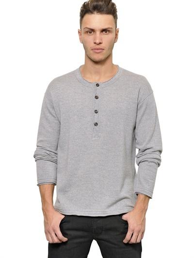 Dolce Gabbana Virgin Wool Henley Sweater 675 Luisaviaroma