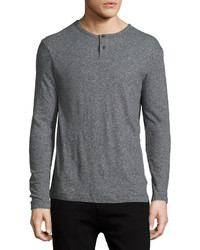 Theory Gaskell Long Sleeve Henley Shirt Charcoal
