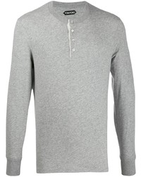 Tom Ford Half Button Long Sleeve T Shirt
