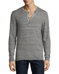Billy Reid Heathered Henley Sweater Dark Gray