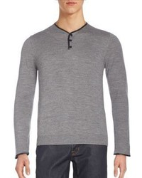 The Kooples Leather Trimmed Merino Wool Henley Sweater
