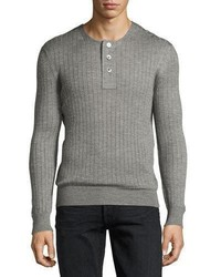 Tom Ford Lightweight Cashmere Silk Ribbed Henley Sweater Light Gray