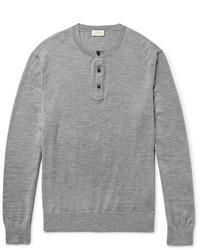 Club Monaco Mlange Merino Wool Silk And Cashmere Blend Henley Sweater