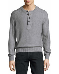 Tom Ford Raglan Cotton Cashmere Blend Henley Sweater Gray