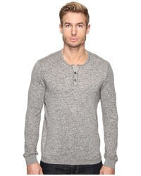 John Varvatos Star Usa Long Sleeve Henley Sweater With Coverstitch Detail Y1443s4b Sweater
