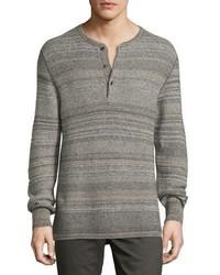 Billy Reid Striped Henley Sweater Gray