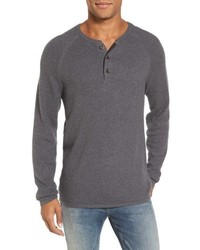 Waffle knit henley sweater medium 6465102