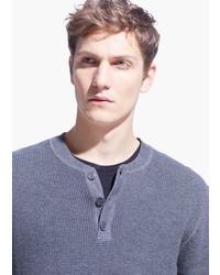 Mango Wool Modal Blend Henley Sweater
