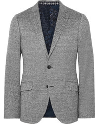 Etro Blue Slim Fit Herringbone Woven Blazer
