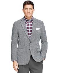 Saint Laurent Grey Slim Fit Leather Elbow Patch Herringbone Wool ...