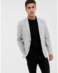 Pier One Brushed Herringbone Blazer In Light Grey