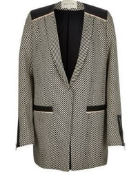 River Island Grey Herringbone Long Blazer