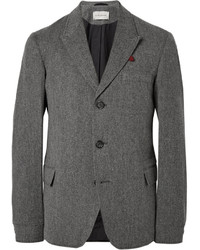 Oliver Spencer Grey Portland Herringbone Cotton And Lambswool Blend Blazer