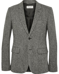 Saint Laurent Grey Slim Fit Leather Elbow Patch Herringbone Wool Tweed Blazer
