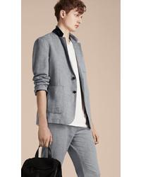 Burberry Herringbone Linen Cotton Tailored Jacket