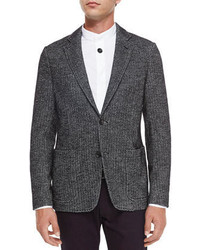 Armani Collezioni Herringbone Two Button Jersey Blazer Black