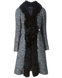 Dolce & Gabbana Herringbone Fur Trim Coat