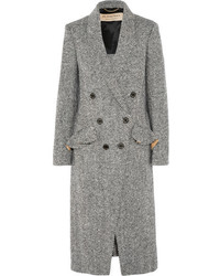 Double breasted herringbone tweed coat dark gray medium 6464603