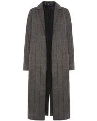 Grey Herringbone Maxi Coat