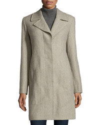 Fleurette Herringbone Notched Collar Coat Dark Gray