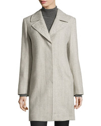 Fleurette Herringbone Notched Collar Coat Gray