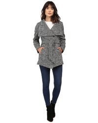 Jessica Simpson Herringbone Tweed Asymmetrical Closure With Belt Coat