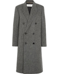Saint Laurent Herringbone Wool Blend Coat Gray