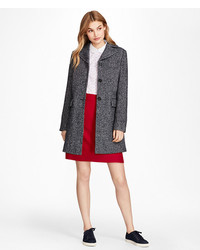 Brooks Brothers Herringbone Wool Blend Swing Coat
