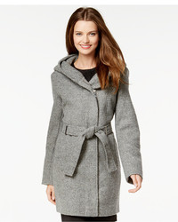 Calvin Klein Hooded Asymmetrical Herringbone Coat