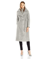 Nanette Lepore Knit Herringbone Fold Over Notch Collar Maxi Coat