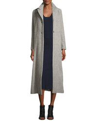 Isabel Marant Long Wool Blend Top Coat Gray
