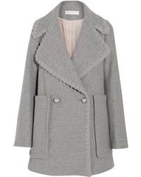 See by Chloe See By Chlo Crepe De Chine Trimmed Herringbone Wool Blend Coat Gray