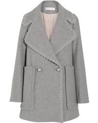 See by Chloe See By Chlo Crepe De Chine Trimmed Herringbone Wool Blend Coat Gray