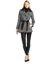 Via Spiga Tweed Wool Coat With Faux Leather Collar